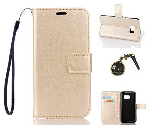 Preisvergleich Produktbild für Smartphone Samsung Galaxy S7 Hülle,Echt Leder Tasche für Samsung Galaxy S7 Flip Cover Handyhülle Bookstyle mit Magnet Kartenfächer Standfunktion + Staubstecker (2DD)