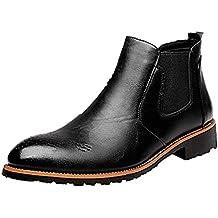 Hombre Botas Chelsea de Cuero Elegantes Calzado Oxfords Zapatos Forro Piel Sneakers Invierno Otoño Zapatos Negro