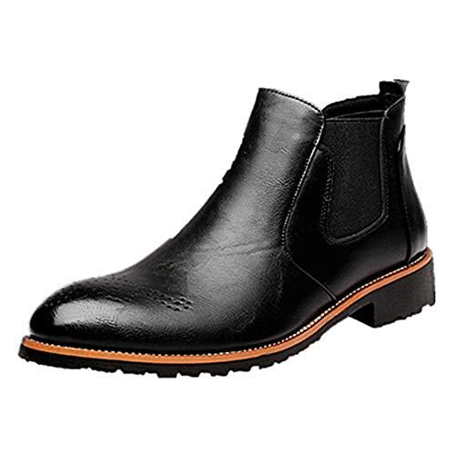 NEOKER Stiefel Herren Chelsea Boots Leder Retro Business Stiefelette Klassische Brogues Elegant Schuhe Herbst Gefüttert Winter Schwarz 43