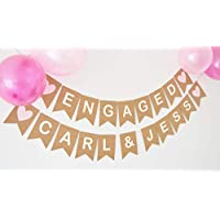 Engagement Party Decoration Engaged Bunting Banner Personalised Names Pink Heart Party Decoration