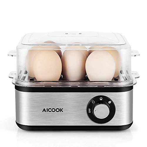 Fornello Elettrico per Uova Aicook 500W Cuociuova Elettrico con Capacità 8 Uova, Bollitore per Uova con Funzione di Mantenimento Calore in Acciaio Inox con Piedini Antiscivolo in Gomma