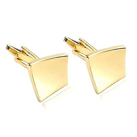 Adisaer Stainless Steel Cufflinks for Men Art Bended Square Gold Unique Business Wedding Cufflink