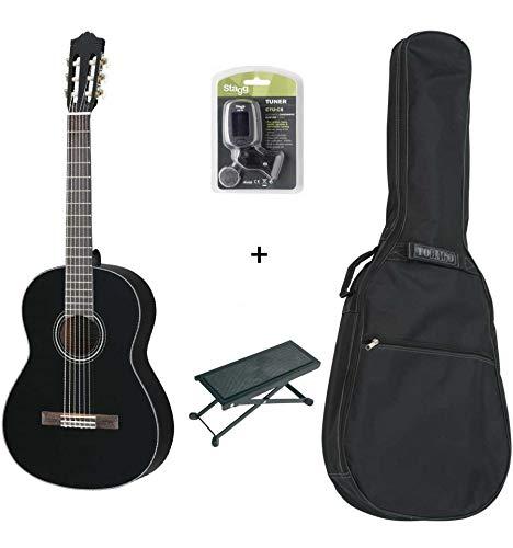 Pack Yamaha c40bl negra–Guitarra clásica (+ funda, afinador y descansa pie)