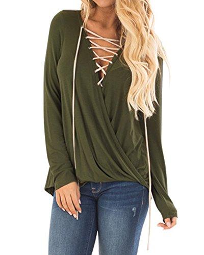 Kidsform Damen V Ausschnitt Oberteile Langarm mit Schnürung Asymmetrisch Bluse Shirt Sweatshirt Top Langarmshirt Armee Grün EU 38-40/Etikettgröße M