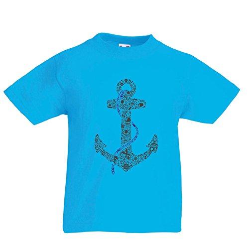 Kinder Jungen/Mädchen T-Shirt salziger Seemann-Anker, Seematrosen-Seemann-Hemd, Segel- und Yachtingkleidung (9-11 years Hellblau Mehrfarben)