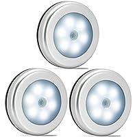 LED Nachtlicht mit Bewegungsmelder Batteriebetrieb On//Off//Aus 3 weiße LEDs