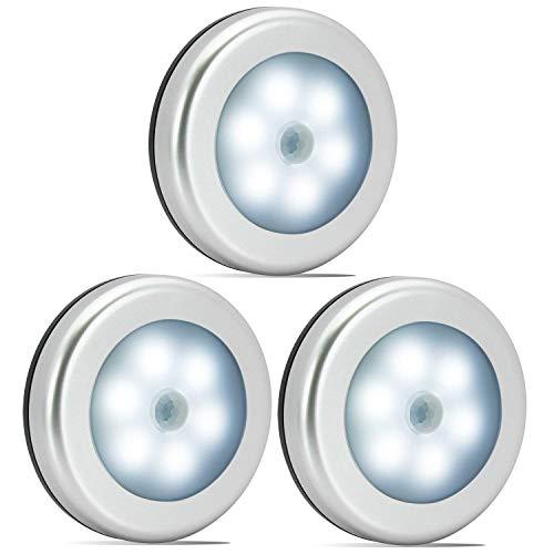 Nakhal Nachtlicht mit Bewegungsmelder (3 Stück, 6 LEDs), Auto Ein/Aus Nachtlicht Magnetisch und 3m...