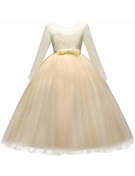 Vestito Principessa per Ragazza di Fiore Abiti da Sera Matrimonio Damigella d'onore Pizzo Tulle Maniche Lunghe...