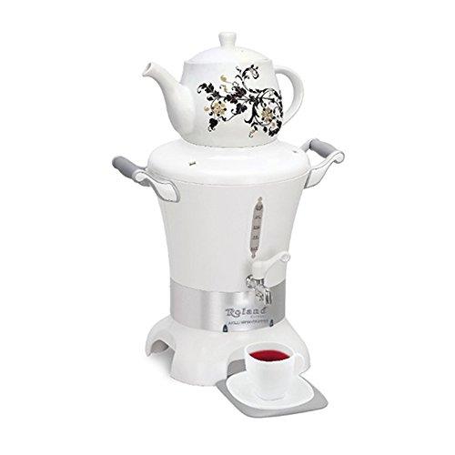 """Roland® Germany """"Smart Samowar""""""""Akilli Semaverimmm"""" elektrischer Samowar Semaver Tee Maschine Samovar/ 1700 Watt/ Füllmenge Wasserkessel 3,5 L & Teekanne (Porzellan) mit Edelstahl Sieb 1 L/ verdecktes Heizelement"""