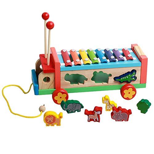 LHTY Aktivität Würfel schleppen Bus Kleinkind 8 Notizen Xylophon Percussion Form Matching Intelligence Box für Junge Mädchen frühe pädagogische Feinmotorik