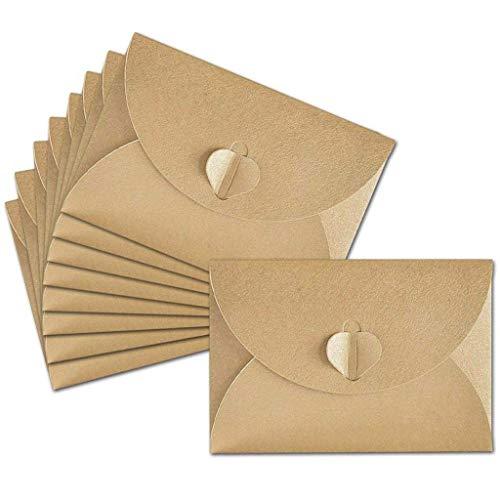 20 Stücke Mini Kraftpapier Umschläge Hanfseile Kraftpapier Umschläge Herz Verschluss Karten Valentinstag DIY Handwerk, Einladungen, Schreiben, Postkarten, Braun in 10,5 * 7,2 cm