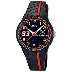 Lotus Marc Marquez 2014 Junior Edition children's Quartz Watch with Black Dial Analogue Display and Black Rubber Strap 18106/3
