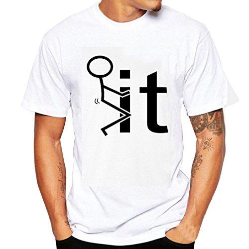 Herren T Shirts, Kingwo Männer Druck T Shirts Hemd Kurzes Hülsen T Shirt Blusen Jungen Beiläufige T Shirts Bluse (L, A)