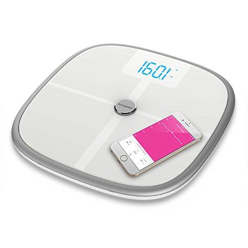 Koogeek Báscula Corporal Wifi Bluetooth con App para iOS y Android Medir 8 Datos Analisis Memoria de 16 Usuarios Medir el Bebé