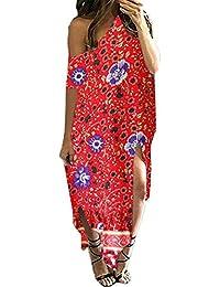 Kidsform Women's Maxi Dress Striped Loose Long Dress, Casual Side Split Kaftan Sundress