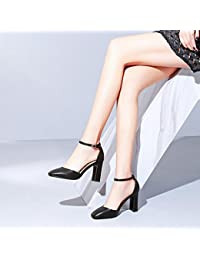 Jqdyl High Heels Damen Einzel Schuhe Dicke High Heels Jahreszeiten Damenschuhe