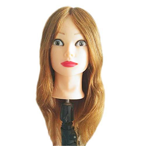 Ausbildung kopf 100% echtes menschliches haar kosmetik friseur schaufensterpuppe puppe friseur praxis ausbildung köpfe kosmetologie praxis werkzeuge + clamp,16inches -
