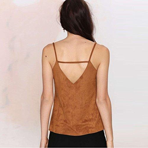 Mode fuer Frauen Faux Veloursleder Vest Einfache tiefem V Ausschnitt Tank Tops Blusen Shirt S XXL Leicht gebraeunt