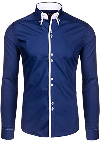Bolf Herren Hemd Elegant Langarm Farbwahl Knopfleiste Casual Style 2B2 MIX Dunkelblau_1721