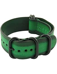 55e30934a626 StrapsCo 18mm Green Vintage NATO Zulu G10 Leather Watch Strap with Matte  Black Rings