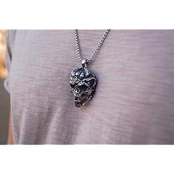 Made by Nami Wikinger Kette – Herren-Schmuck Halskette – Edelstahl Silber-Kette Handgemacht – Keltischer Männer-Schmuck -Skandinavisch Nordisch – Herren-Kette mit Anhänger (Totenkopf 2)