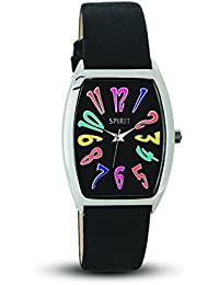 Spirit Women's Quartz Watch with Black Dial Analogue Display and Black PU Strap ASPL59