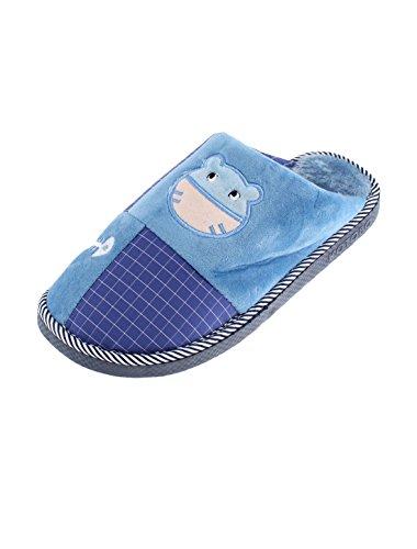 sourcingmap Gardiens D'intérieur Femme Cat Grille Motif Jambière manchon Coton Pantoufles Bleu,bleu foncé
