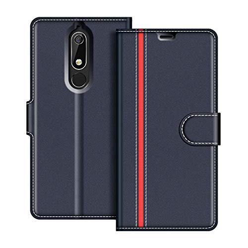 COODIO Custodia in Pelle Nokia 5 2018, Custodia Nokia 5.1, Custodia Portafoglio Cover Porta Carte Chiusura Magnetica per Nokia 5.1 / Nokia 5 2018, Blu Scuro/Rosso