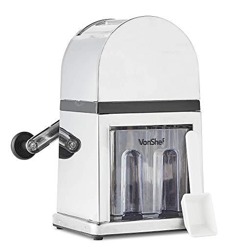 VonShef Handbetriebener Eiscrusher Icecrusher/Eiszerkleinerer in stilvollem Hochglanz - Inklusiv Auffangschale und KOSTENLOSER Schaufel