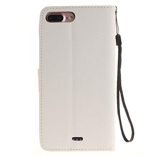 Wkae Case Cover IPhone7 Case, Premium étui en cuir PU, embossés Fleurs de pissenlit Lovers Wallet Case Support Avec Dragonne pour Apple IPhone 7 Plus ( Color : Blue , Size : IPhone 7 Plus ) White