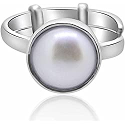 Pearl Ring Silver Ring Moti 9.25 Ratti NATURAL & IIGS CERTIFIED Pearl (Moti) ASTROLOGICAL GEMSTONE Adjustable SILVER RING BY ARIHANT GEMS & JEWELS