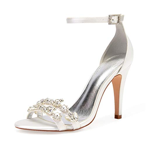 Layearn Frauen Hochzeit Schuhe Braut Mitte Plattform Kätzchen Satin Strass Chunky High Heels Elfenbein Chunky / 10,5 cm Absatz Diamond High Heel