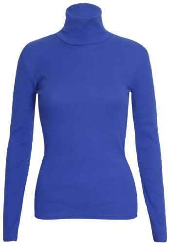 Purple Hanger - Pull Extensible Femme Uni, Manche Longue Col Haut Retourné Grande Taille Bleu Roi