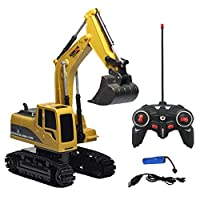 YUYOUG RC Metal Diecast Excavator Construction Truck Toy Tractor, Heavy Metal Excavator Model Free Wheeler Die Cast Construction Toy 1:24 Scale for Kids