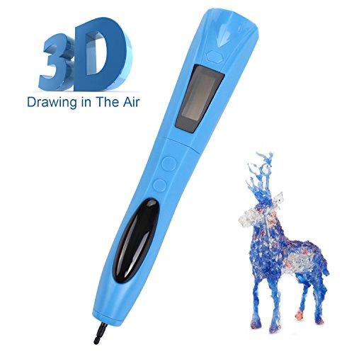 3D Stift, Lauva UV Photohärtender 3D Stereoscopic Printing Pen mit eingebautem Akku und austauschbarer Tinte für Modellieren, Basteln, Modellieren und Ausbildung (Blau) (Temperatur-einstellungen 8)