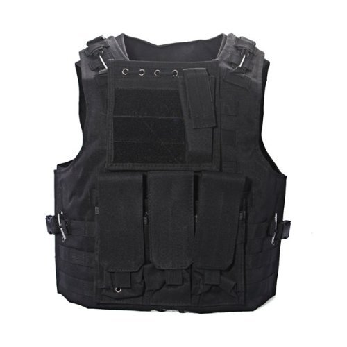 Dcolor Nylon Chaqueta Chaleco Negro MOLLE Tactical Paintball Airsoft C