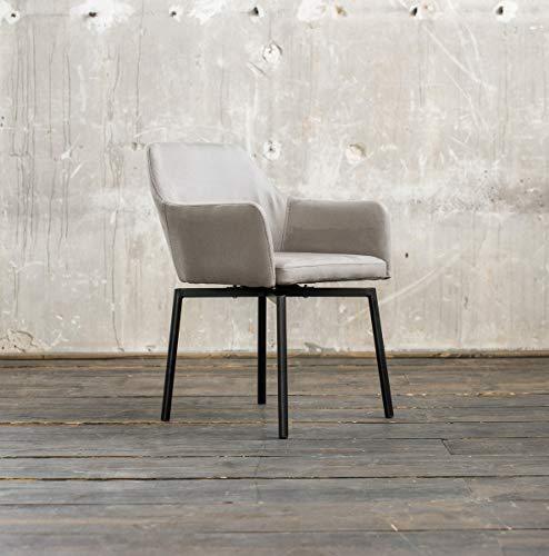 KAWOLA Stuhl Loui Sessel Microfaser Esszimmerstuhl Hellgrau Füße matt-schwarz