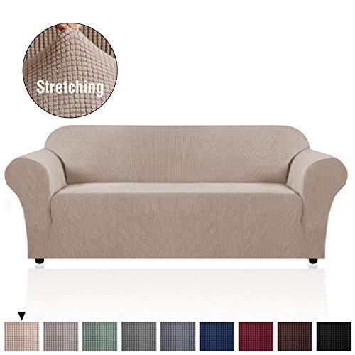 H.versailtex copridivano altamente elasticizzato 1 pezzo coprisofà, fondere per salotto divano a 3 posti, salvadivano per soggiorno, copridivano a 3 cuscini in jacquard lycra (divano: sabbia)