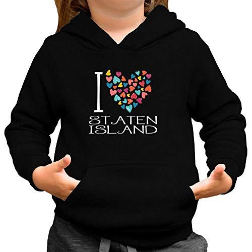 Idakoos I Love Staten Island Colorful Hearts Mädchen Kapuzenpullover 6
