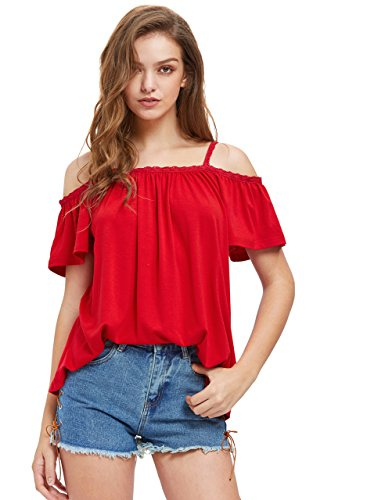 ROMWE Damen Bluse Schulterfrei Cold Shoulder Locker Träger Top Oberteil (M, Rot)