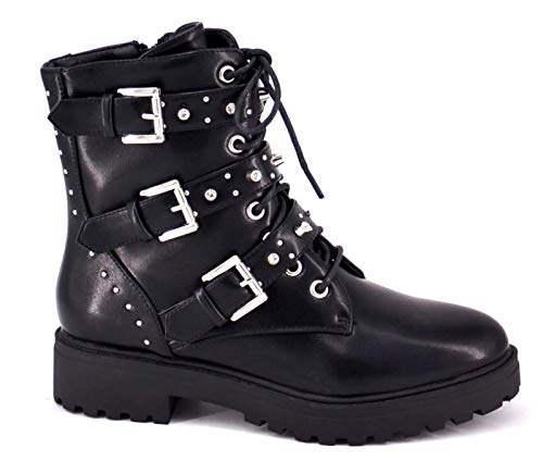 King Of Shoes Bequeme Damen Nieten Stiefeletten Bikerboots Halbschaft Halbhohe Stiefel Blockabsatz RB (37, Schwarz 121)