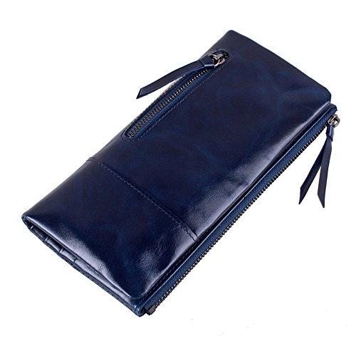 Raccoglitore del cuoio genuino delle donne Myleas lunga cerniera frizione borse borse Blu