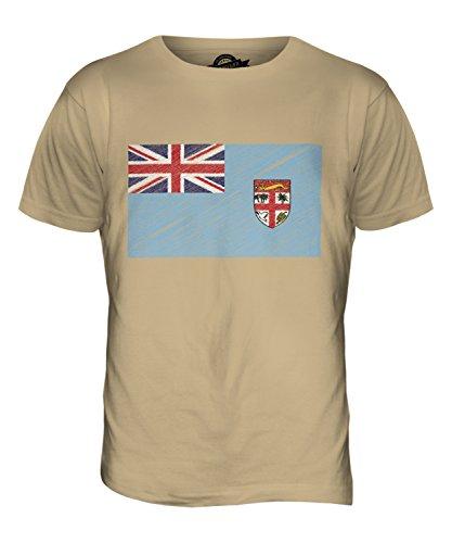 CandyMix Fidschi Kritzelte Flagge Herren T Shirt Sand