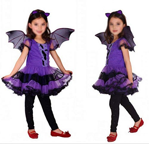 Alte Fledermaus Kostüm - NAN Halloween Kostüm, Lila Fledermaus Cosplay Kostüm, Kinderkostüm, Camouflage - Halloween - Karneval - Kinder, Kostüm Cosplay Set,160