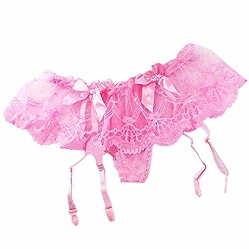 EROSPA® Strapsgürtel Strapshalter Strumpfhalter aus floraler Spitze mit String Schleifen Damen Dessous 4 Farben zur Auswahl One Size (Pink) -