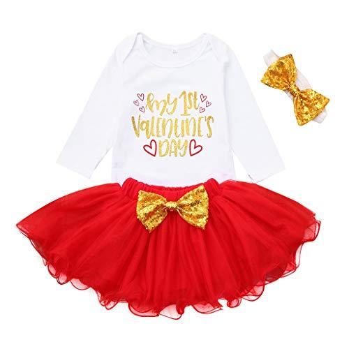 HEETEY Neugeborenes Säuglingsbaby Langarm Rundhals Valentinstag Brief Strampler + Einfarbiger Tutu-Tüllrock Valentine Outfits Set