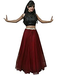S-ART FASHION Girls Long Net Skirt/Long Lehnga/Long Skirt With Top And Dupatta For Party Wear
