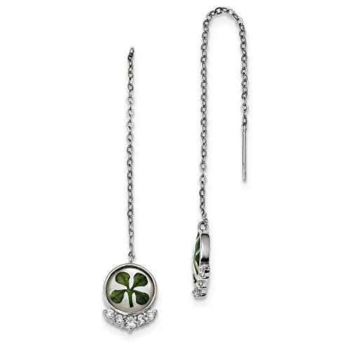 925Sterling Silber Damen vergoldet Zirkonia Clover Epoxy und Shell Post Ohrringe (Länge: 108MM, Breite: 11.12mm) -
