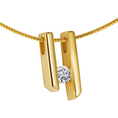 Diamond Line Damen - Halskette 585er Gold 1 Diamant ca. 0,20 ct, gelbgold