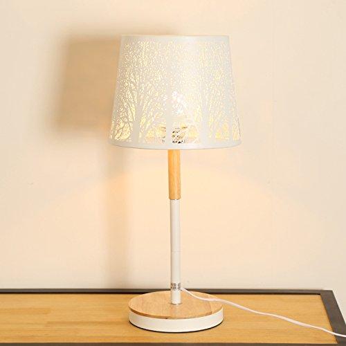 Style nordique moderne minimaliste LED sculpture créative salon bois table basse lampe chambre lampe de chevet en bois lampe de table (Couleur : Blanc)